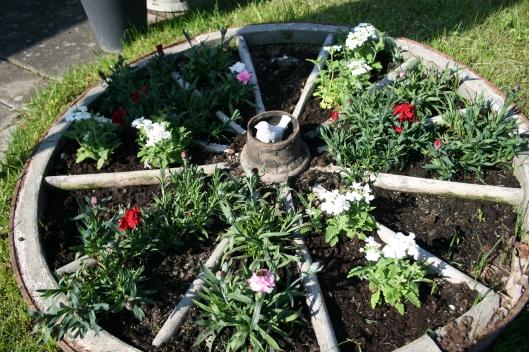 Hjulet med blomster.