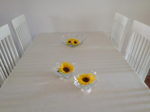 Her har jeg klippet hovederne af en stilk og sat dem i vand i skålene og pyntet spisebordet.