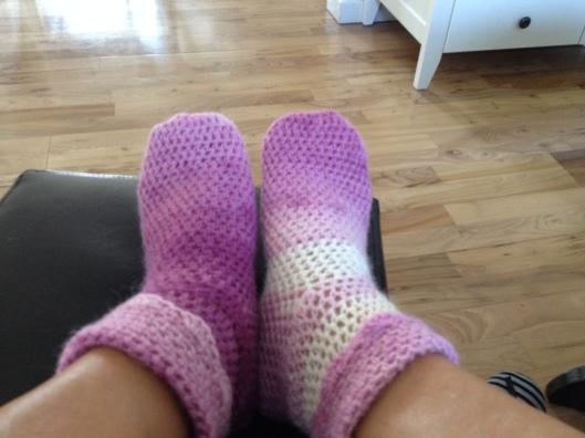 Mine hæklet sokker.