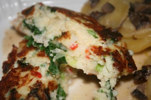 Ovn kartofler med blomkåls/grønkåls fritter.