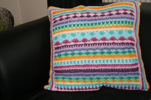Pude hvor jeg har brugt et mønster fra et tæppe.